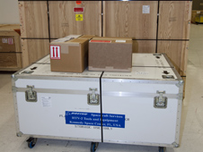 Shipping crates prepared for Japan flight