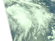 AIRS captured this visible image of Malou on Sept. 2, and it appears as a comma shape.