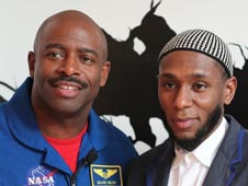 NASA astronaut Leland Melvin and singer-actor Mos Def