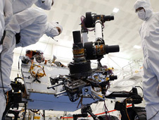 Spacecraft technicians at NASA's Jet Propulsion Laboratory