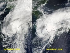 Tropical Storm Malou's progress through the Korea Strait and into the Sea of Japan on Sept. 6 (left) to Sept. 7 (right).