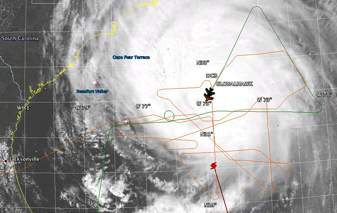 Convergent flight paths of NASA's Global Hawk and DC-8 environmental science aircraft over Hurricane Earl on Sept. 2.