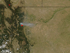 The MODIS instrument on NASA's Aqua satellite captured this natural-color image of the fire at 2:40 p.m. local time on September 7, 2010.