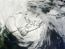 MODIS image from Saturday, September 4, 2010 at 1: 15 p.m. EDT when Tropical Storm Earl was over Nova Scotia, Canada.