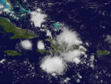 Gaston's remnants over the eastern Caribbean at 10:31 a.m. EDT (1431 UTC) on September 8.