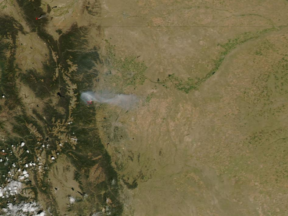 Satellite image of fires in Fourmile Canyon, Colorado.