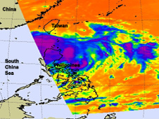 infrared image of tropical depression 11W