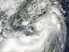 Tropical Storm Meranti over Taiwan captured by the MODIS instrument on NASA's Terra satellite on Sept. 9.