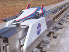 A scale model of a launch vehicle for concept testing.