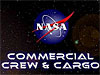 The NASA emblem floats above the words 'Commercial Crew & Cargo'