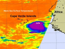 Infrared image of Julia early on Sept. 12 when it was Tropical Depression 12 just east-southeast of the Cape Verde Islands.