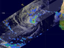 TRMM captured heavy rainfall around Julia's center on Sept. 12  about 9 hours before she reached tropical storm status.