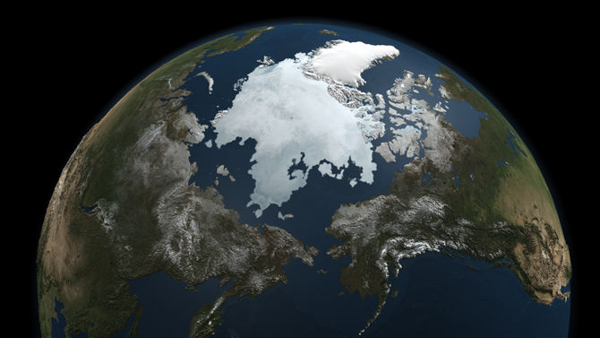 image of polar sea ice cover created using satellite data gathered 3 Sept 2010