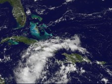 System 92L in the Caribbean as it was bringing heavy rains over Hispaniola, Jamaica and Cuba.