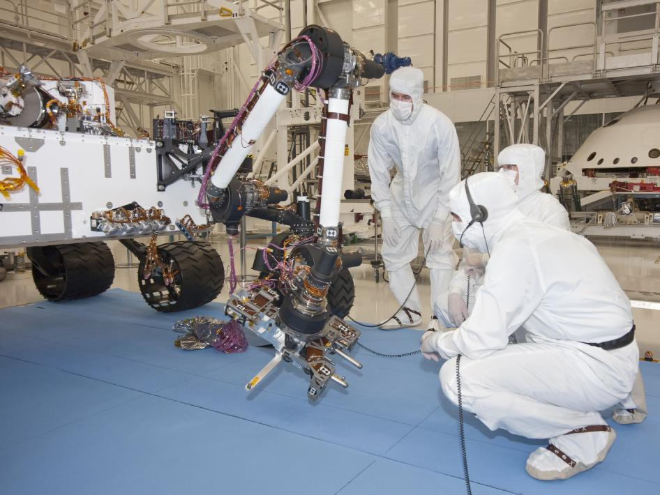 Curiosity Mars rover in the clean room