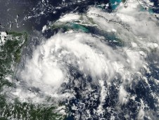 Tropical Storm Karl approaching the Yucatan Peninsula (left in the image).