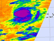 This image of Julia shows very strong thunderstorms (purple) around Julia's center.