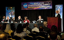 Members of the Education Stakeholders' Summit One Stop Shopping Initiative Panel listen to NASA Administrator Charles Bolden