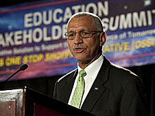 NASA Administrator Charles Bolden speaking at a podium