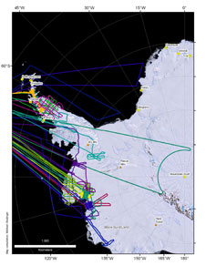 This map of western Antarctic shows the completed flights for the Oct-Nov 2009 campaign.