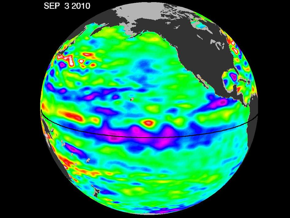 latest satellite data of sea surface heights