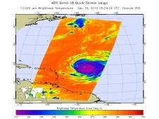 AIRS captured an infrared image of Hurricane Igor's cloud temperatures on showing strong convective activity in his center.