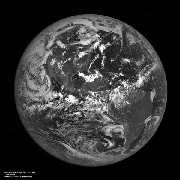 Image of Earth from the Moon taken by LRO on August 9, 2010.