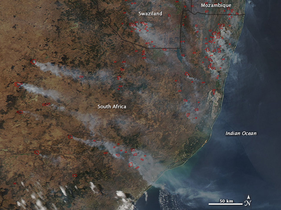 Seasonal fires in Southern Africa