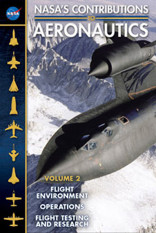 NASA's Contributions to Aeronautics, Volume 2 cover. The image is of the SR-71 Blackbird in flight over a mountain range.
