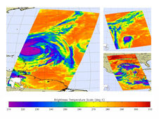 AIRS infrared images of several hurricanes