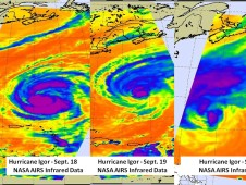 Hurricane Igor's cold cloud temperatures and cloud cover on Sept. 18 (left), Sept. 19 (center), and Sept. 20 (right).