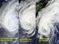 MODIS images of Igor on Sept. 18 (left), on Sept. 19 (center) and on Sept. 20 (right).
