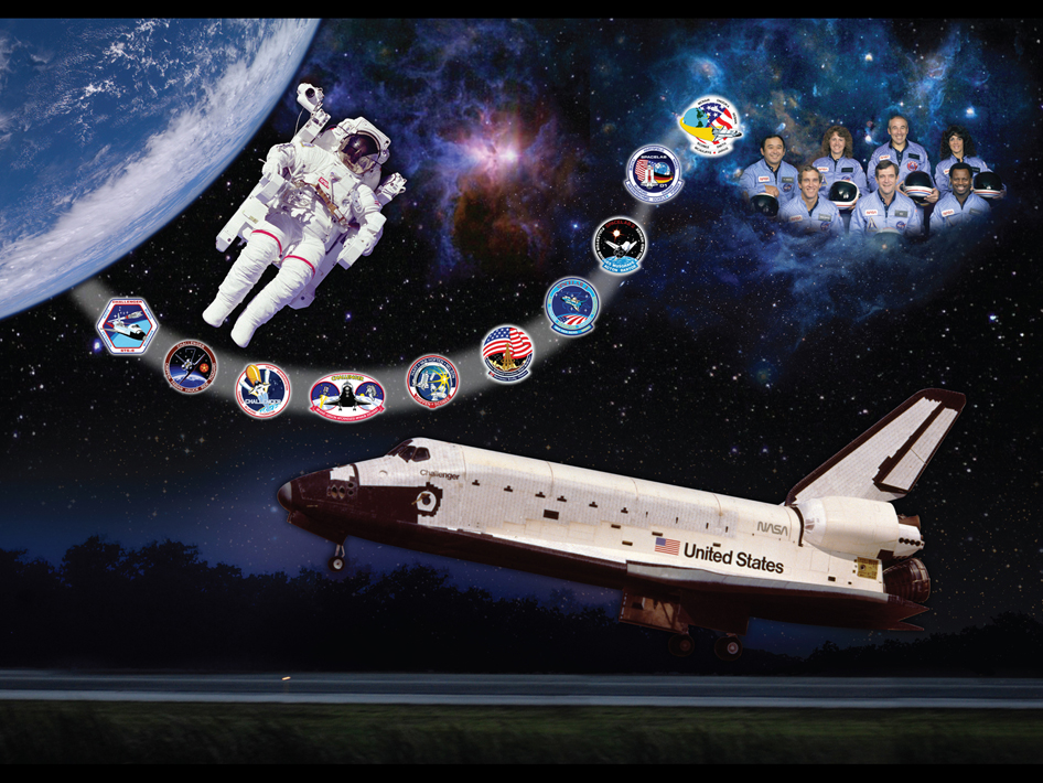 Artistic tribute to space shuttle Challenger