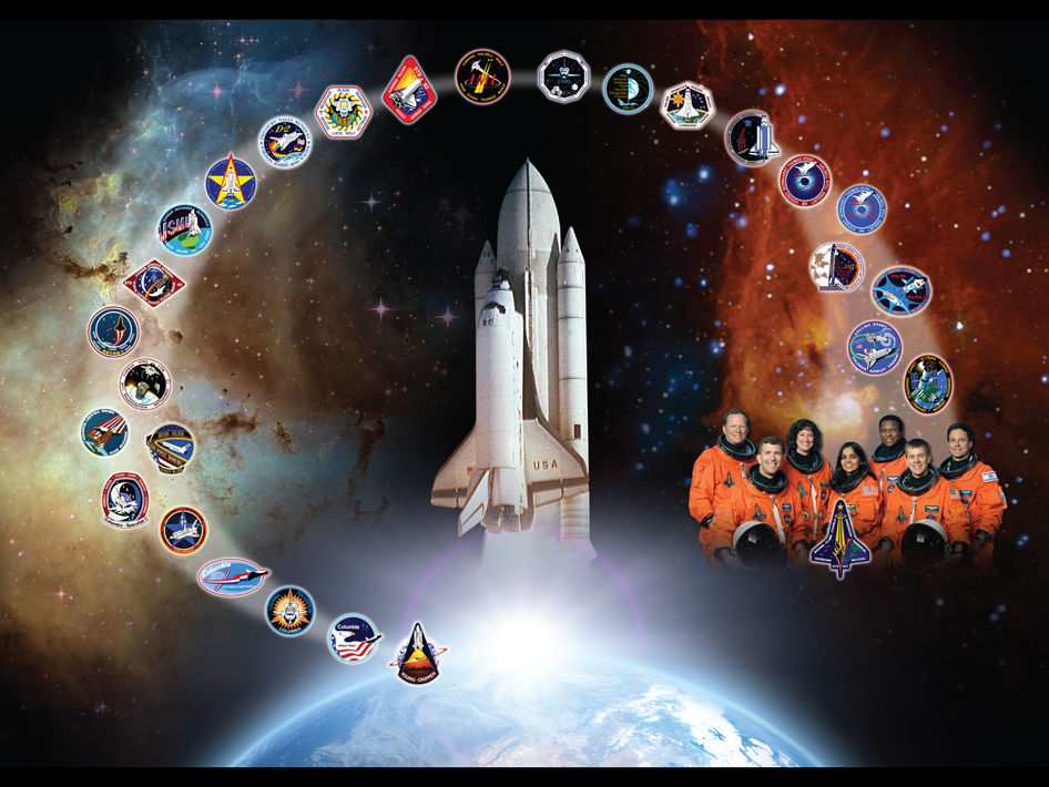Artistic tribute to space shuttle Columbia