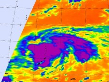 Infrared image of Tropical Storm Malakas from the AIRS instrument aboard NASA's Aqua satellite.