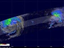 The TRMM satellite captured rainfall occurring in Igor (left) and Julia (right) when it passed over on Sept. 19.