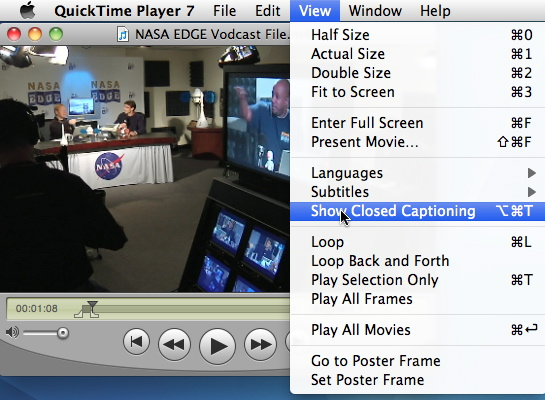 Selecting the Show Closed Captioning option for NASA EDGE example vodcast file in Quicktime 7