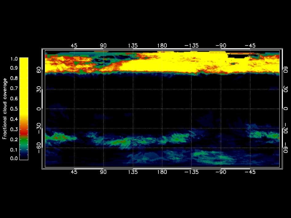 The graphic shows the percentage of cloud coverage across the surface of Saturn's moon Titan