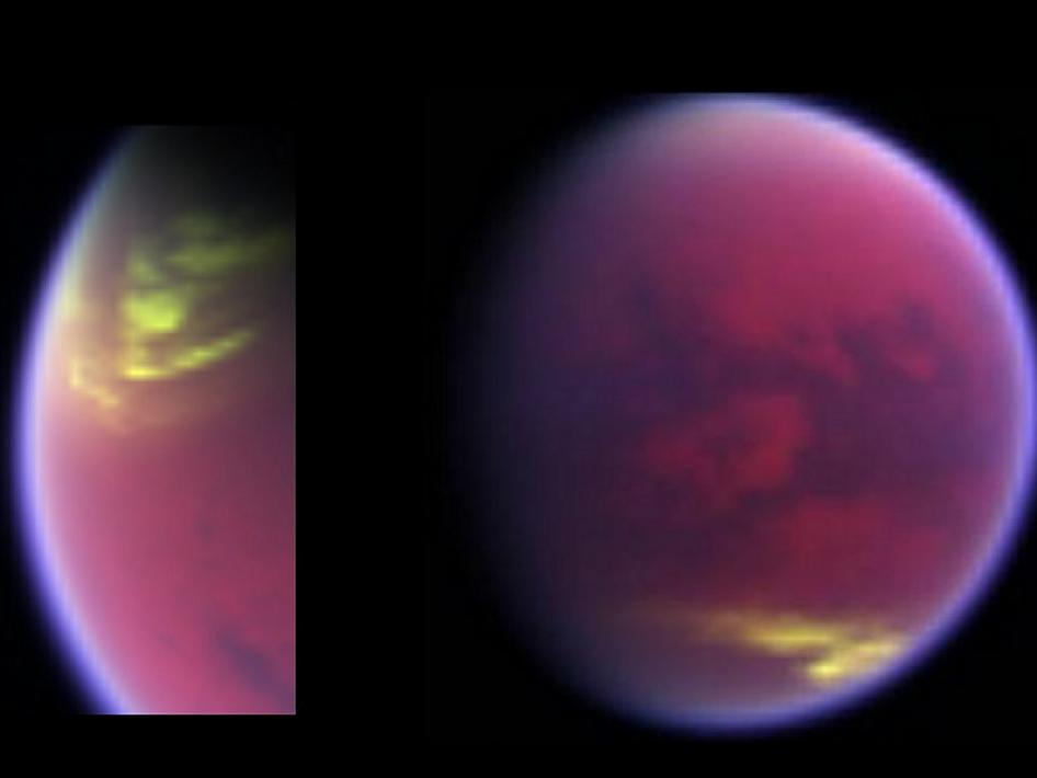 Clouds covering parts of Saturn's moon Titan in yellow