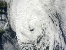 Visible image of Hurricane Igor over Newfoundland, Canada on Sept. 21 and an eye reappeared.