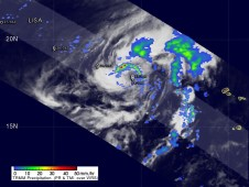 Georgette was a tropical depression with isolated moderate thunderstorms when the TRMM satellite passed over on Sept. 22.