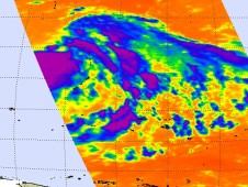 This infrared image of the eastern half of Tropical Storm Malakas showed cold, high thunderstorms in the storm's center (purple).