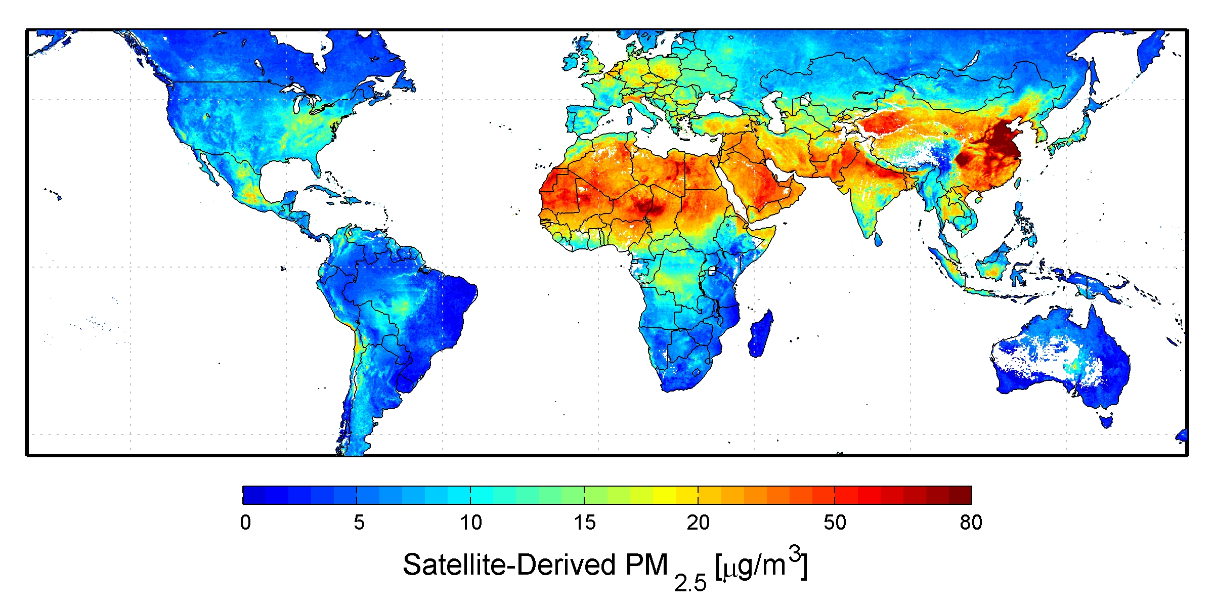 global satellite derived map of pm25 averaged over 2001 2006