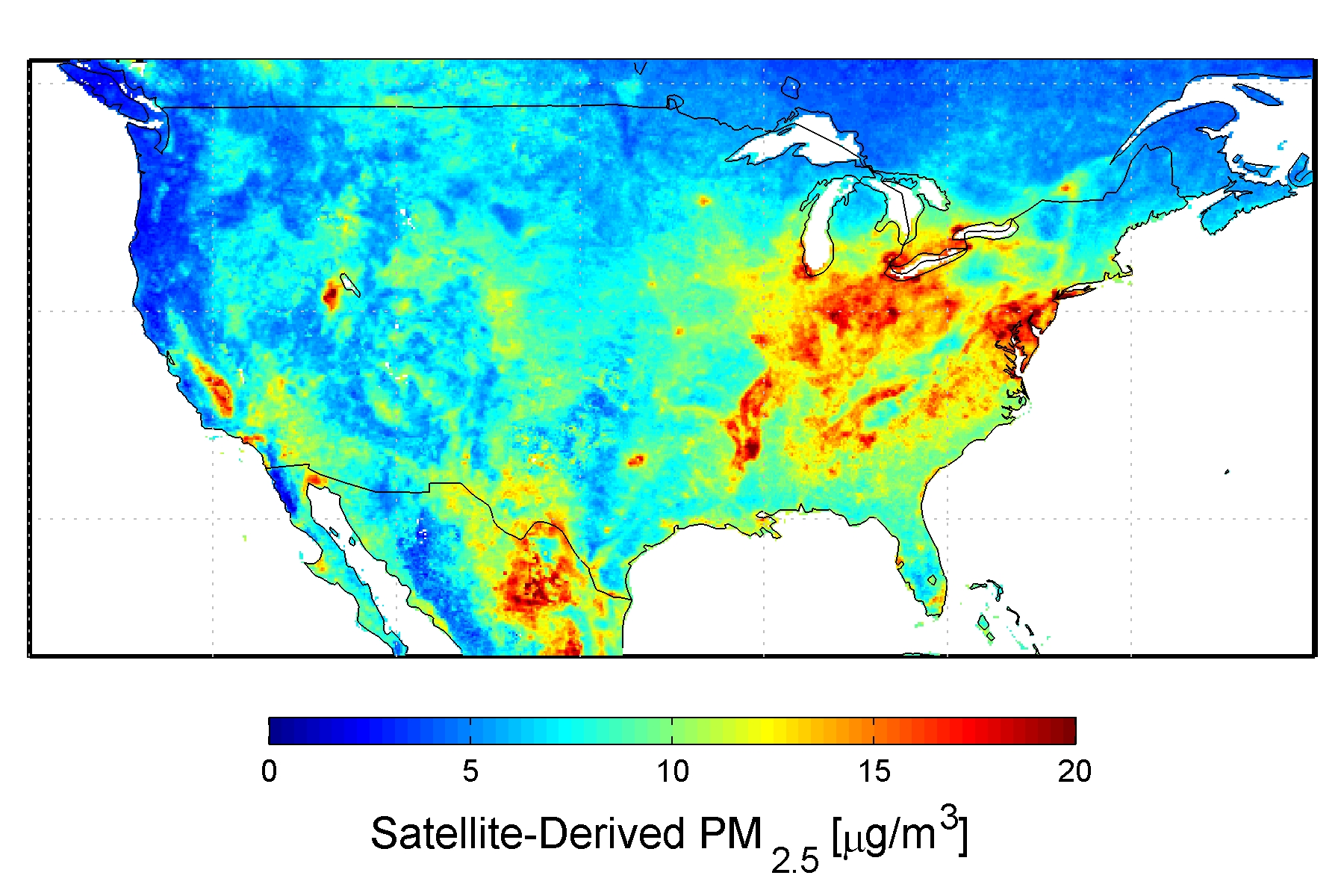 Nasa New Map Offers A Global View Of Health Sapping Air Pollution - Air-pollution-us-map