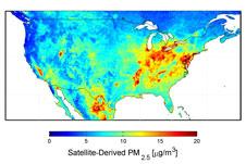 ABD uydu kaynaklı PM2.5 haritası, 2001-2006 arasında ortalaması alınmıştır.  <b> Kredi: </ b> Dalhousie Üniversitesi, Aaron van Donkelaar