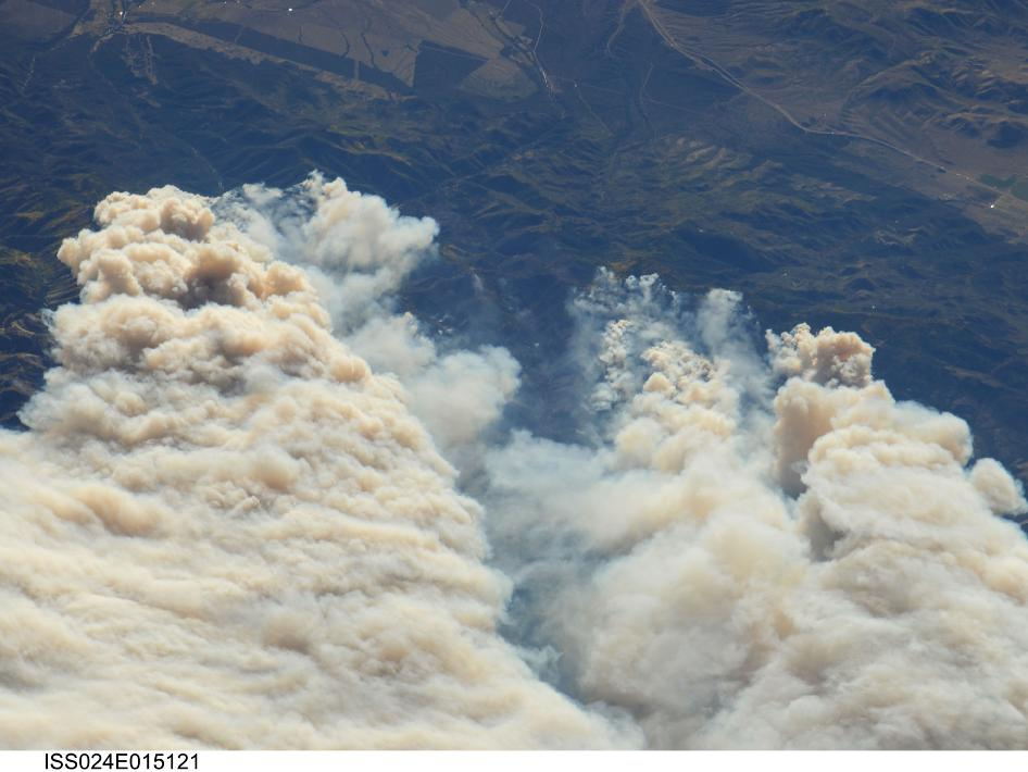 Twitchell Canyon Fire as seen from the International Space Station on September 20, 2010.