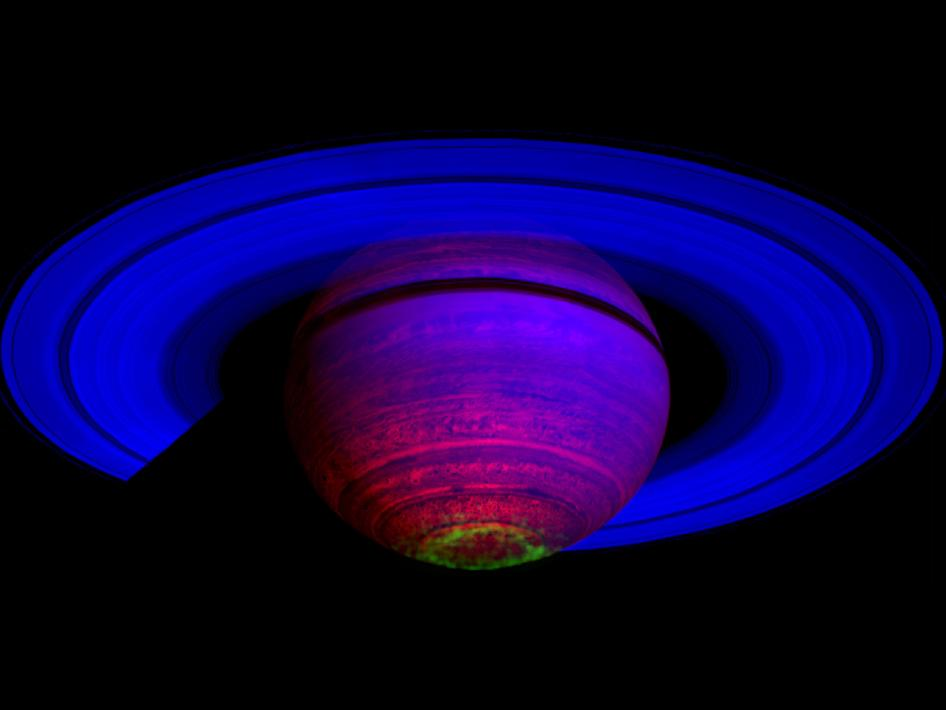False light images of Saturn with its aurora