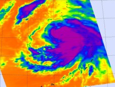 This AIRS image shows a very large area of high, cold cloud tops throughout Tropical Storm Malakas.
