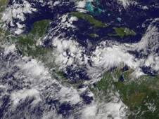 The GOES-13 satellite captured an infrared image of TD 15's rounded clouds on Sept. 23 in the south-central Caribbean Sea.