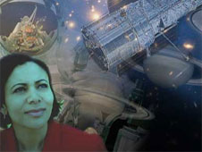 A space-themed collage showing a woman looking at the Hubble Space Telescope